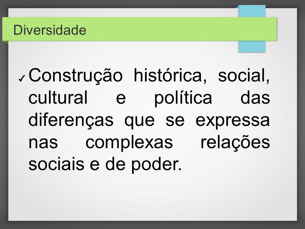 Diversidade Construção histórica, social, cultural e política das diferenças que se expressa nas complexas relações sociais e de poder.