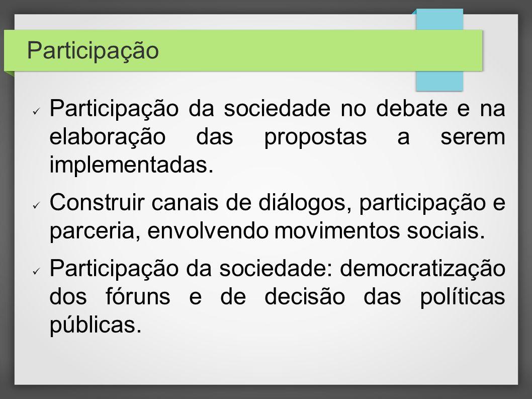 Participação Participação da sociedade no debate e na elaboração das propostas a serem implementadas. Construir canais de diálogos, participação e par