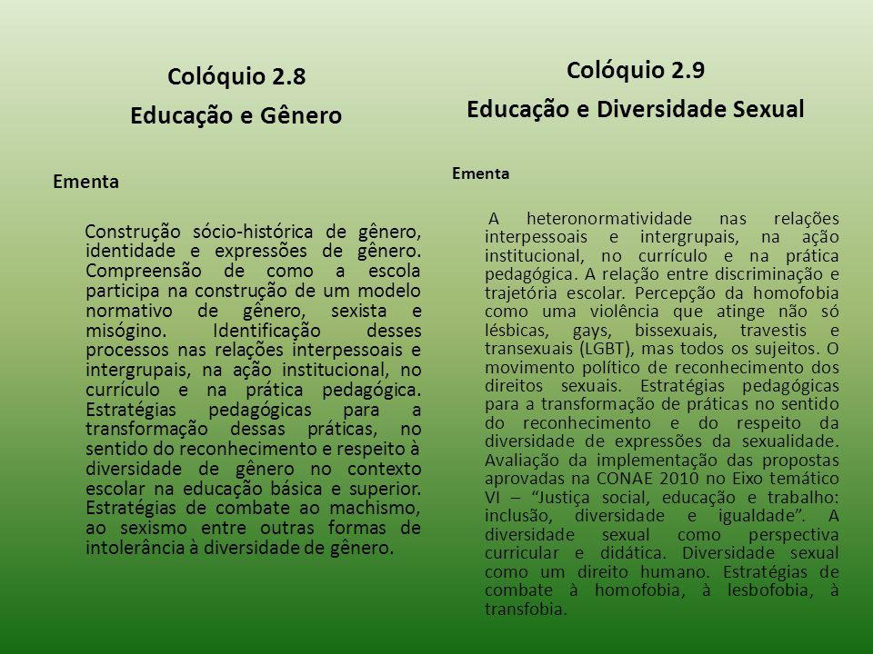 Colóquio 2.8 Educação e Gênero Ementa Construção sócio-histórica de gênero, identidade e expressões de gênero. Compreensão de como a escola participa