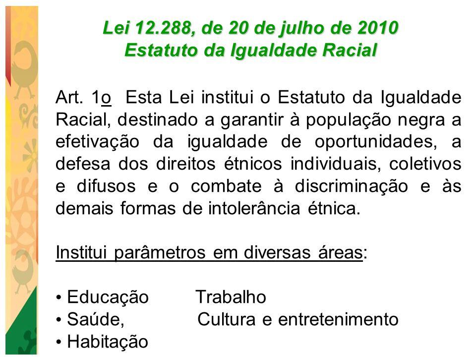 Lei 12.288, de 20 de julho de 2010 Estatuto da Igualdade Racial Art. 1o Esta Lei institui o Estatuto da Igualdade Racial, destinado a garantir à popul