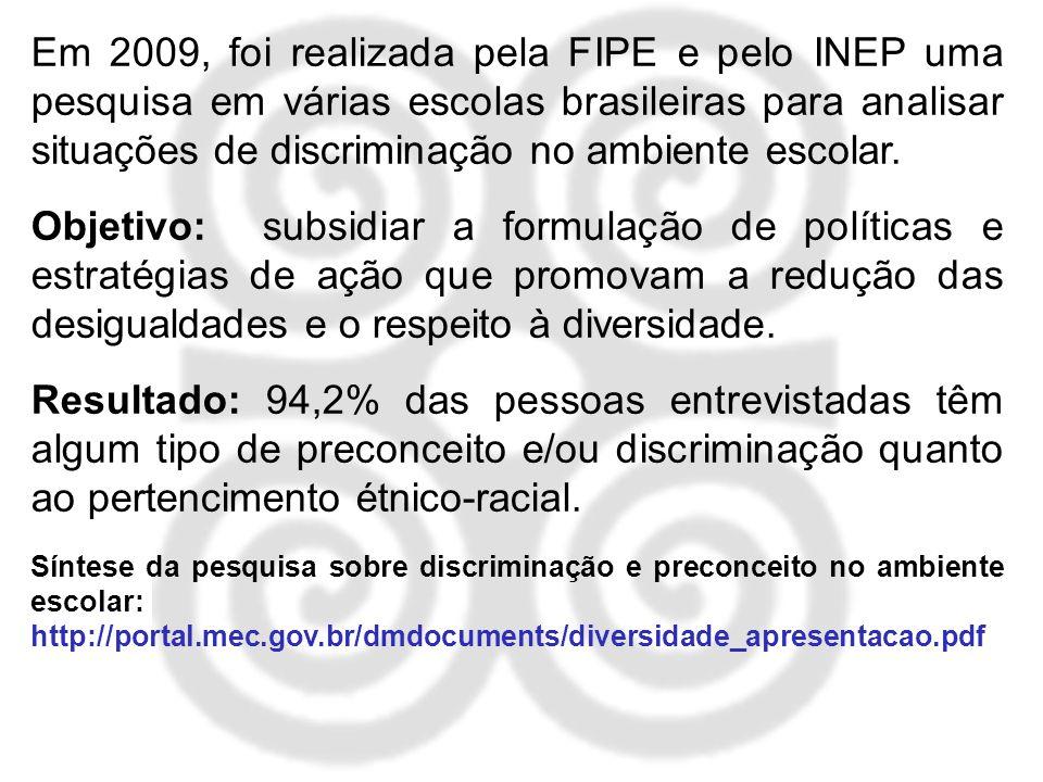 Em 2009, foi realizada pela FIPE e pelo INEP uma pesquisa em várias escolas brasileiras para analisar situações de discriminação no ambiente escolar.