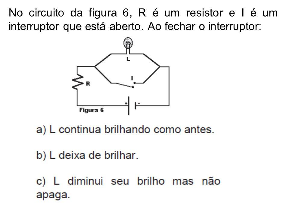 No circuito da figura 6, R é um resistor e I é um interruptor que está aberto. Ao fechar o interruptor: