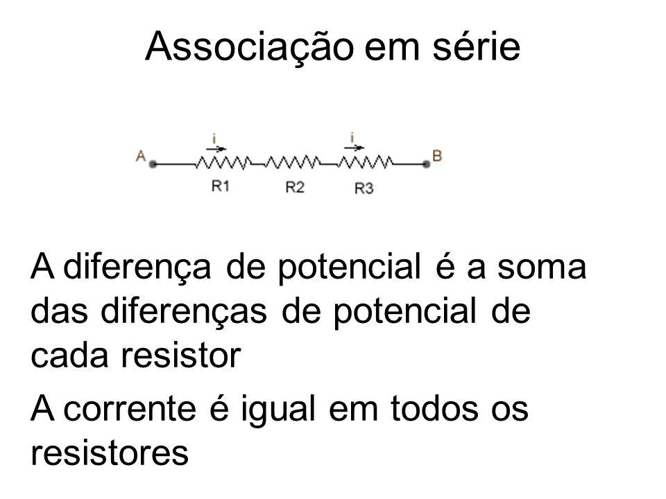 Associação em série A diferença de potencial é a soma das diferenças de potencial de cada resistor A corrente é igual em todos os resistores
