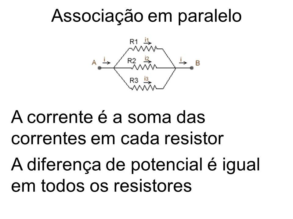 Associação em paralelo A corrente é a soma das correntes em cada resistor A diferença de potencial é igual em todos os resistores