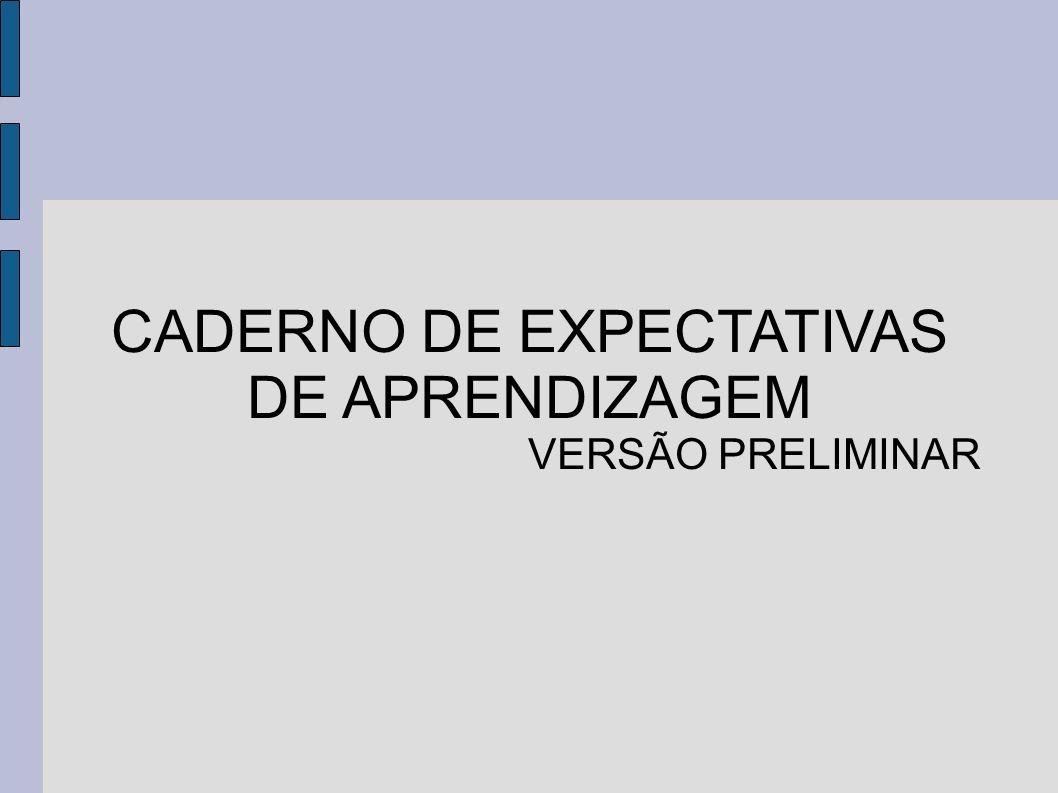 Expectativas de aprendizagem Conhecimentos básicos que espera-se que o aluno domine ao final de cada série.