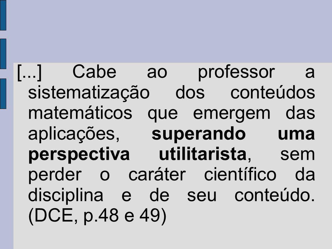 Conteúdos Estruturantes: Números e Álgebra Grandezas e Medidas Geometrias Funções (a partir do 9 o Ano) Tratamento da informação
