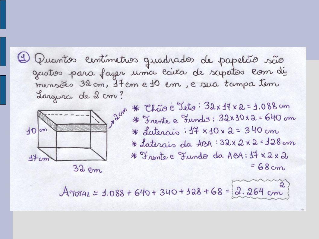 Como eu resolvo: A questão está pedindo quantos cm² de papelão são necessários para montar uma caixa de sapatos.