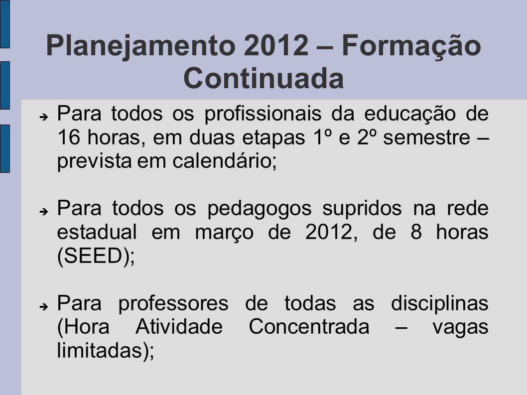 Planejamento 2012 – Formação Continuada Para todos os pedagogos iniciantes na Rede Estadual de Educação, com duração de 16 horas; Para profissionais atuantes nos Programas de Atividade de Complementação Curricular em Contraturno;