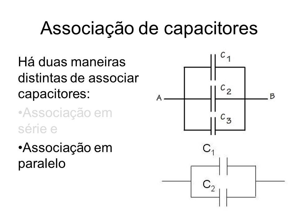 Associação de capacitores Há duas maneiras distintas de associar capacitores: Associação em série e Associação em paralelo