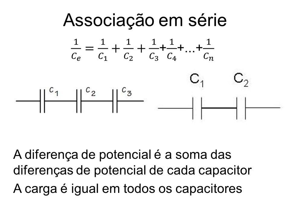 Associação em série A diferença de potencial é a soma das diferenças de potencial de cada capacitor A carga é igual em todos os capacitores