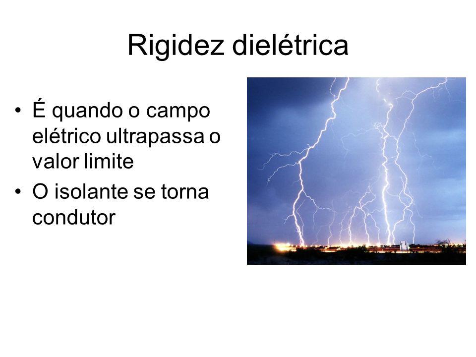 Rigidez dielétrica É quando o campo elétrico ultrapassa o valor limite O isolante se torna condutor
