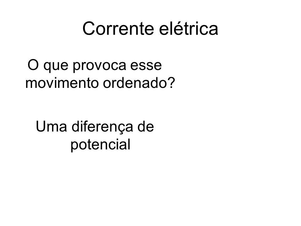 Corrente elétrica O que provoca esse movimento ordenado? Uma diferença de potencial
