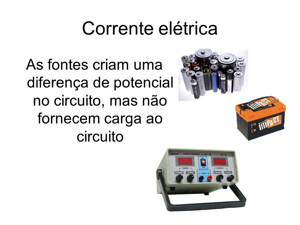 Corrente elétrica As fontes criam uma diferença de potencial no circuito, mas não fornecem carga ao circuito