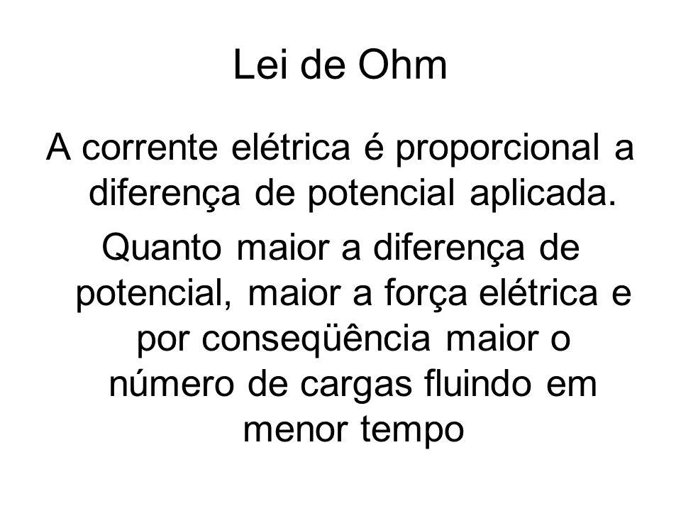 Lei de Ohm A corrente elétrica é proporcional a diferença de potencial aplicada. Quanto maior a diferença de potencial, maior a força elétrica e por c