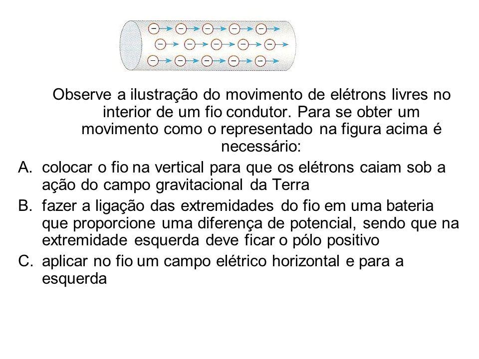 Observe a ilustração do movimento de elétrons livres no interior de um fio condutor. Para se obter um movimento como o representado na figura acima é