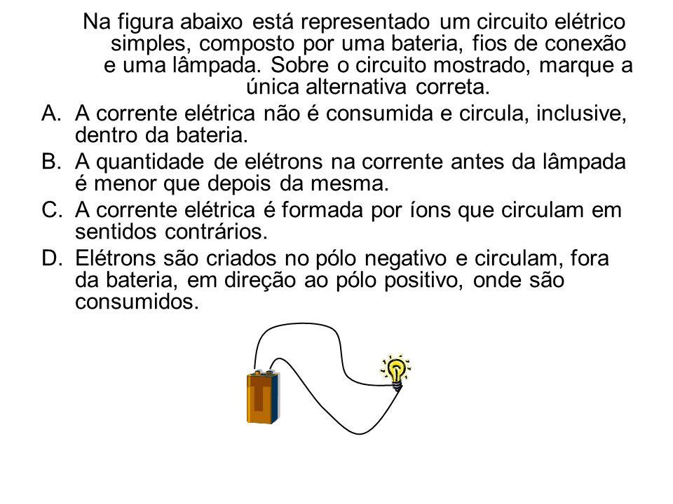 Na figura abaixo está representado um circuito elétrico simples, composto por uma bateria, fios de conexão e uma lâmpada. Sobre o circuito mostrado, m