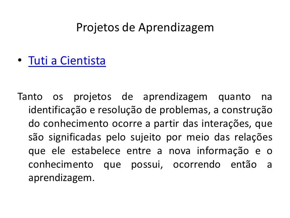 Projetos de Aprendizagem Tuti a Cientista Tanto os projetos de aprendizagem quanto na identificação e resolução de problemas, a construção do conhecim