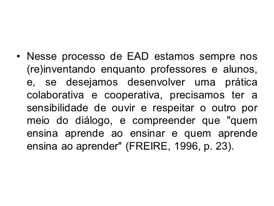 Nesse processo de EAD estamos sempre nos (re)inventando enquanto professores e alunos, e, se desejamos desenvolver uma prática colaborativa e cooperat