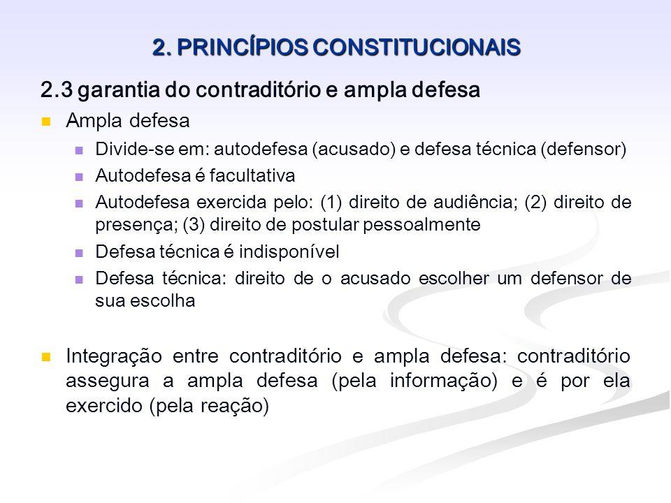 2. PRINCÍPIOS CONSTITUCIONAIS 2.3 garantia do contraditório e ampla defesa Ampla defesa Divide-se em: autodefesa (acusado) e defesa técnica (defensor)