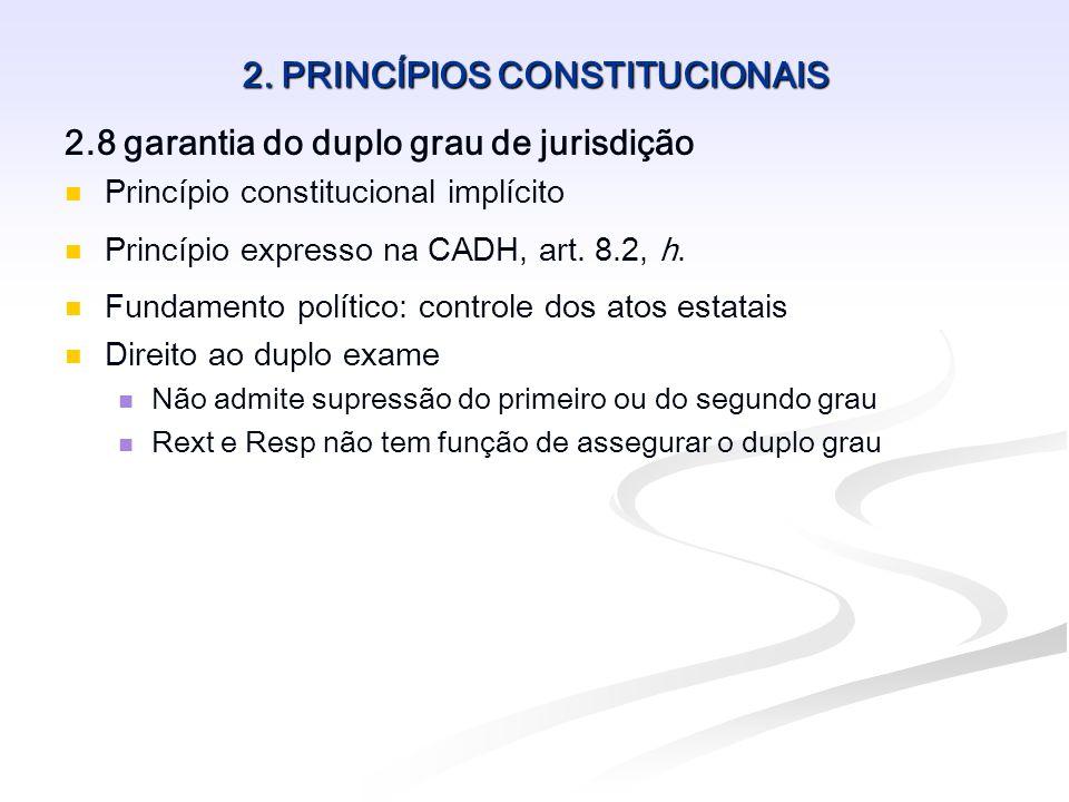 2. PRINCÍPIOS CONSTITUCIONAIS 2.8 garantia do duplo grau de jurisdição Princípio constitucional implícito Princípio expresso na CADH, art. 8.2, h. Fun