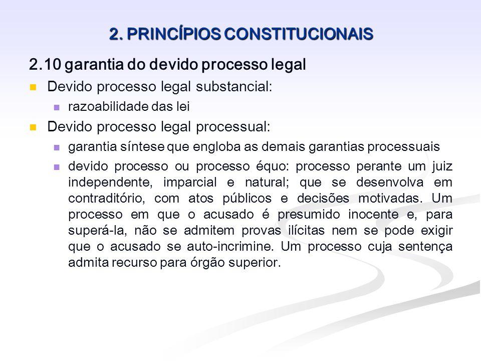 2. PRINCÍPIOS CONSTITUCIONAIS 2.10 garantia do devido processo legal Devido processo legal substancial: razoabilidade das lei Devido processo legal pr