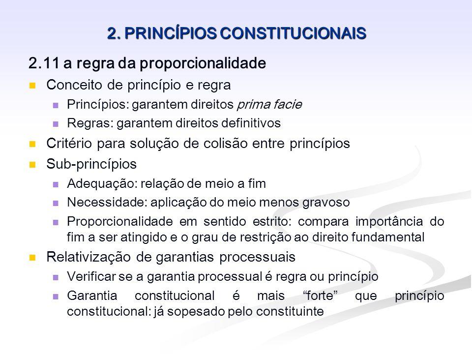 2. PRINCÍPIOS CONSTITUCIONAIS 2.11 a regra da proporcionalidade Conceito de princípio e regra Princípios: garantem direitos prima facie Regras: garant