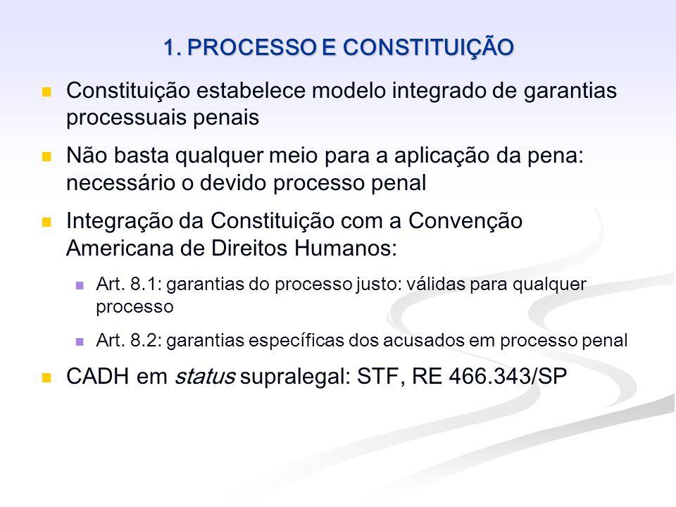 1. PROCESSO E CONSTITUIÇÃO Constituição estabelece modelo integrado de garantias processuais penais Não basta qualquer meio para a aplicação da pena: