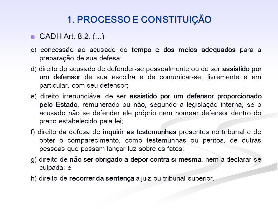1. PROCESSO E CONSTITUIÇÃO CADH Art. 8.2. (...) CADH Art. 8.2. (...) c) concessão ao acusado do tempo e dos meios adequados para a preparação de sua d
