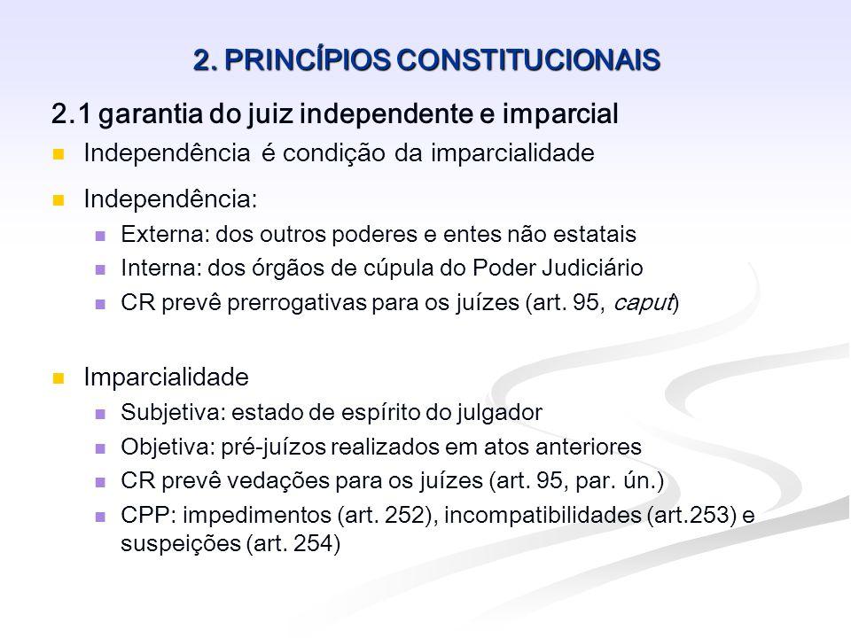 2. PRINCÍPIOS CONSTITUCIONAIS 2.1 garantia do juiz independente e imparcial Independência é condição da imparcialidade Independência: Externa: dos out