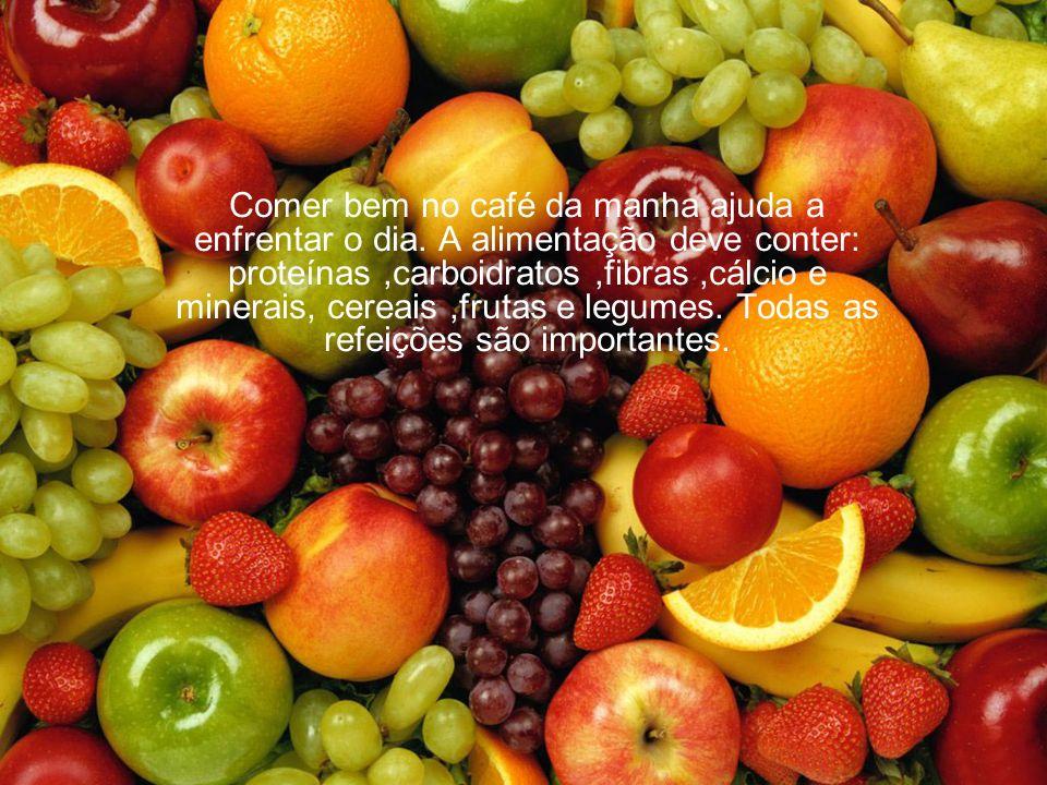 Comer bem no café da manha ajuda a enfrentar o dia. A alimentação deve conter: proteínas,carboidratos,fibras,cálcio e minerais, cereais,frutas e legum