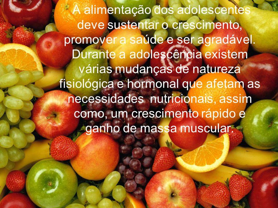 A alimentação dos adolescentes deve sustentar o crescimento, promover a saúde e ser agradável. Durante a adolescência existem várias mudanças de natur