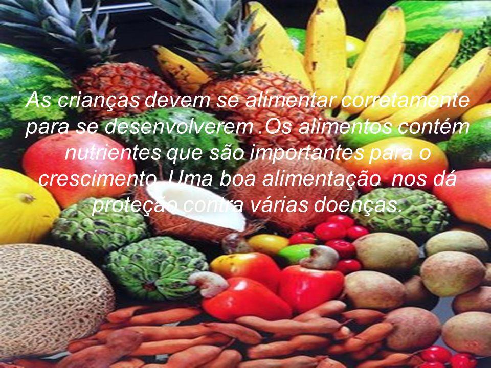 As crianças devem se alimentar corretamente para se desenvolverem.Os alimentos contém nutrientes que são importantes para o crescimento.Uma boa alimen