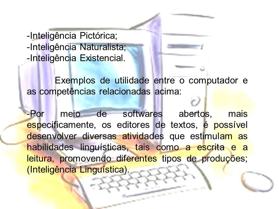 -Inteligência Pictórica; -Inteligência Naturalista; -Inteligência Existencial. Exemplos de utilidade entre o computador e as competências relacionadas