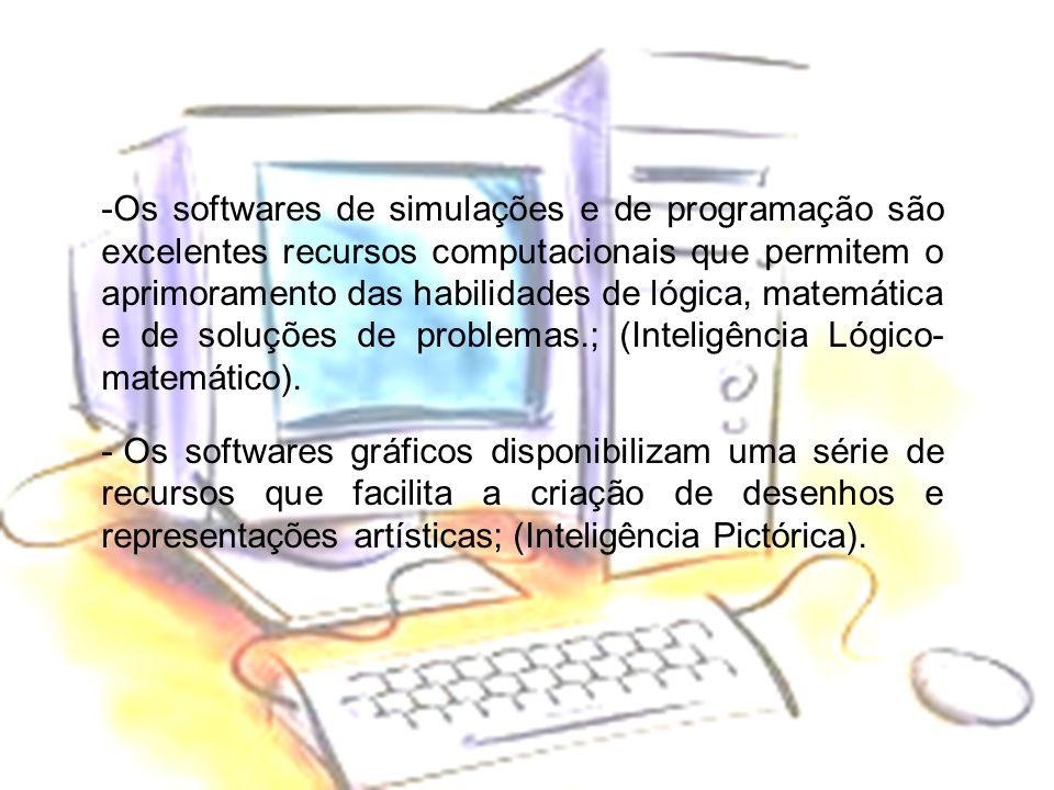 -Os softwares de simulações e de programação são excelentes recursos computacionais que permitem o aprimoramento das habilidades de lógica, matemática