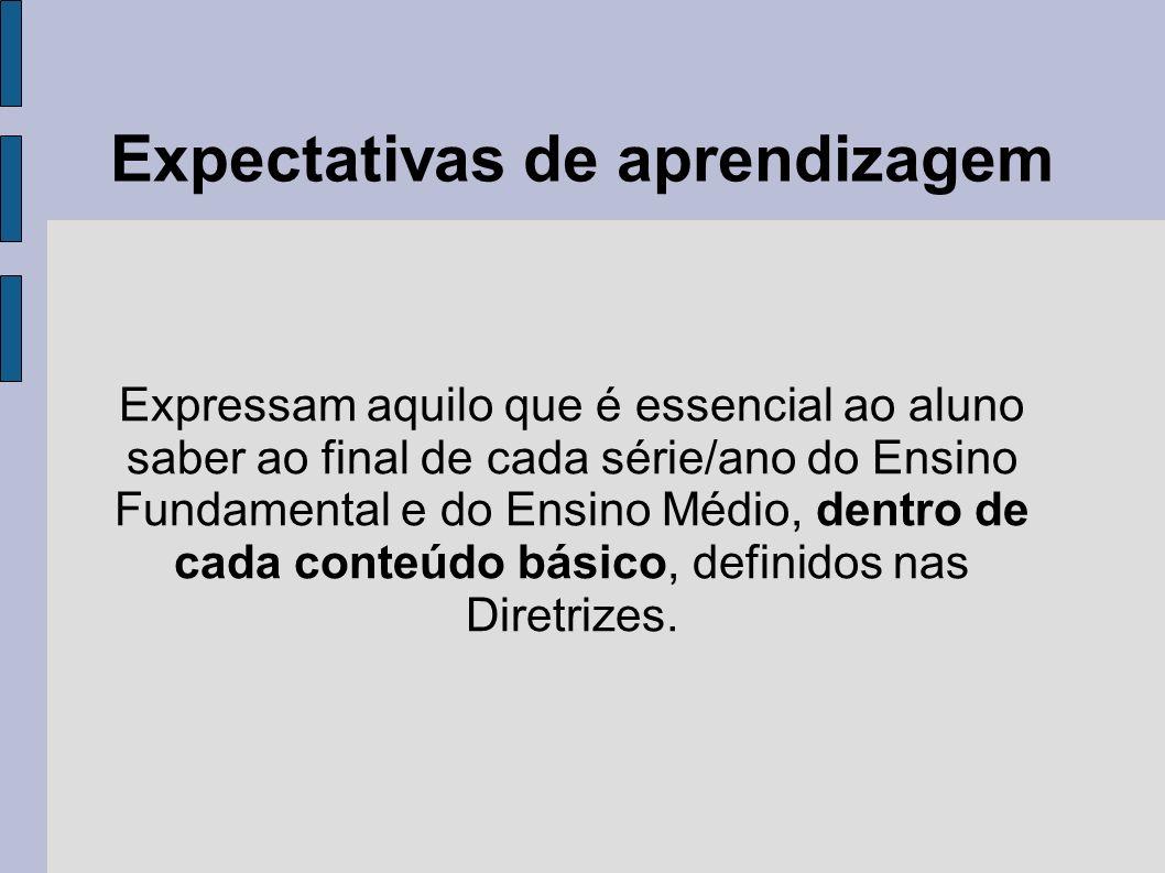 Expectativas de aprendizagem Expressam aquilo que é essencial ao aluno saber ao final de cada série/ano do Ensino Fundamental e do Ensino Médio, dentr