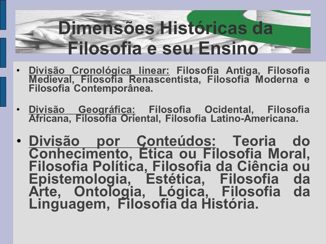 Dimensões Históricas da Filosofia e seu Ensino Divisão Cronológica linear: Filosofia Antiga, Filosofia Medieval, Filosofia Renascentista, Filosofia Mo