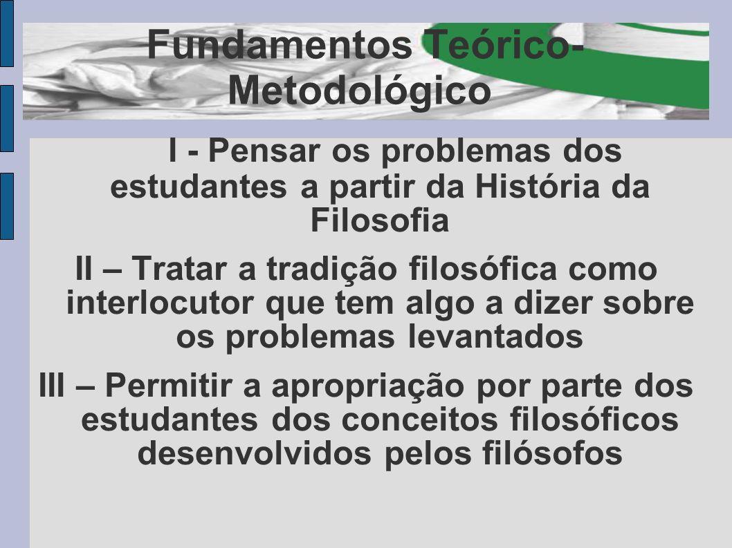 Fundamentos Teórico- Metodológico I - Pensar os problemas dos estudantes a partir da História da Filosofia II – Tratar a tradição filosófica como inte