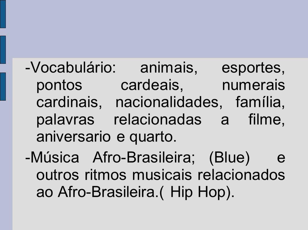 -Vocabulário: animais, esportes, pontos cardeais, numerais cardinais, nacionalidades, família, palavras relacionadas a filme, aniversario e quarto. -M