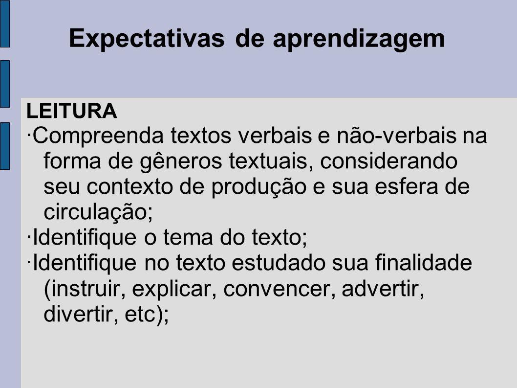 Expectativas de aprendizagem LEITURA ·Compreenda textos verbais e não-verbais na forma de gêneros textuais, considerando seu contexto de produção e su