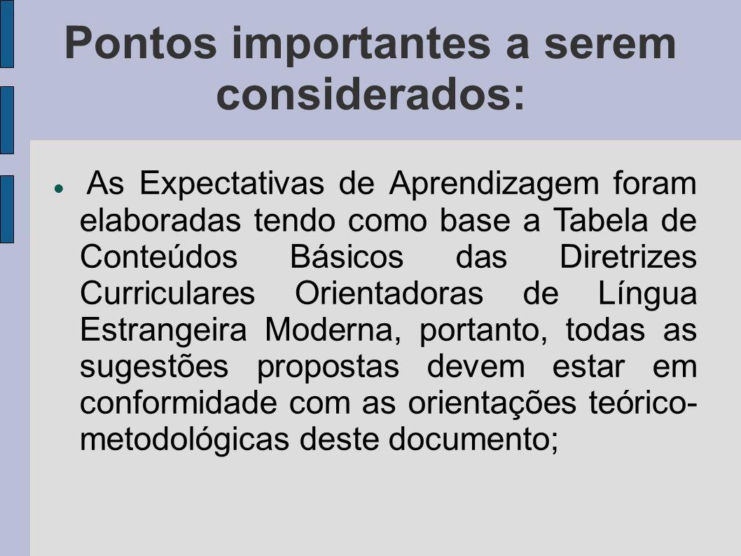 Pontos importantes a serem considerados: As Expectativas de Aprendizagem foram elaboradas tendo como base a Tabela de Conteúdos Básicos das Diretrizes