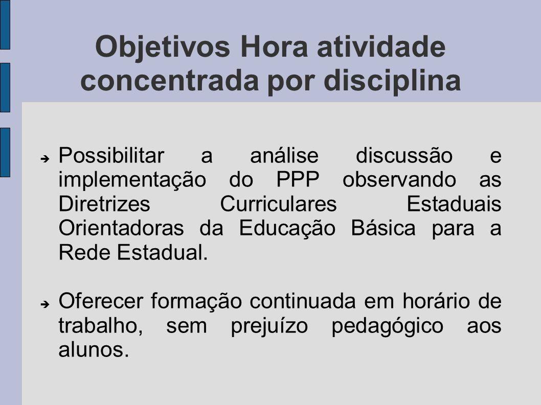 Possibilitar a análise discussão e implementação do PPP observando as Diretrizes Curriculares Estaduais Orientadoras da Educação Básica para a Rede Es