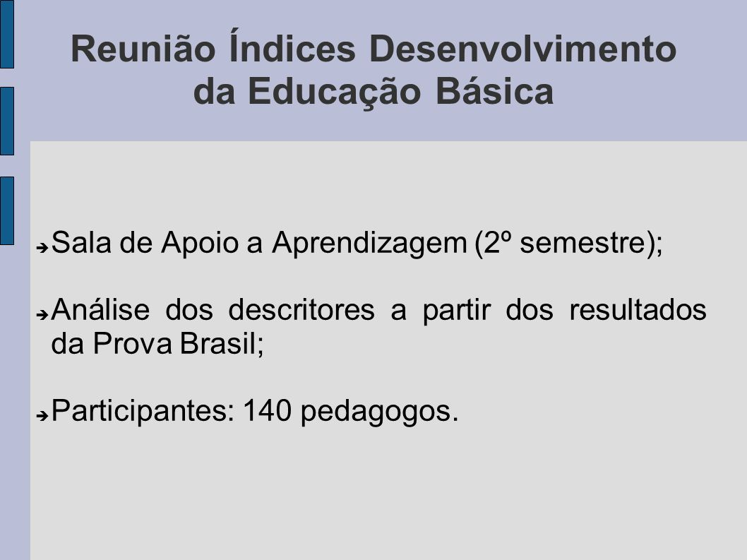 Reunião Índices Desenvolvimento da Educação Básica Sala de Apoio a Aprendizagem (2º semestre); Análise dos descritores a partir dos resultados da Prov