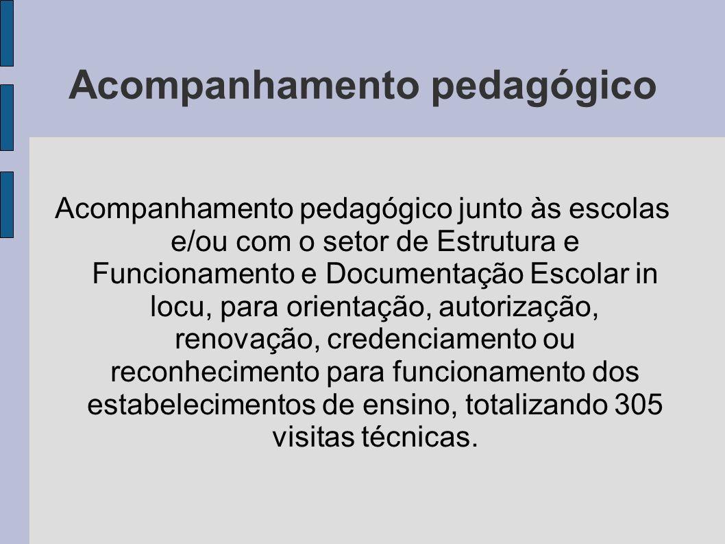 Acompanhamento pedagógico Acompanhamento pedagógico junto às escolas e/ou com o setor de Estrutura e Funcionamento e Documentação Escolar in locu, par