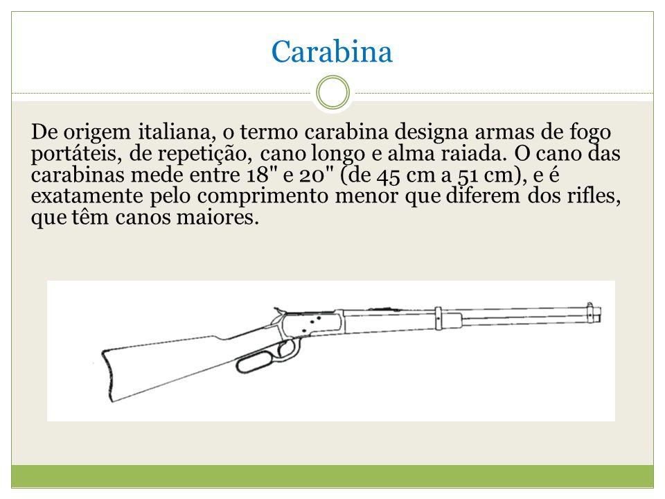 Carabina De origem italiana, o termo carabina designa armas de fogo portáteis, de repetição, cano longo e alma raiada.