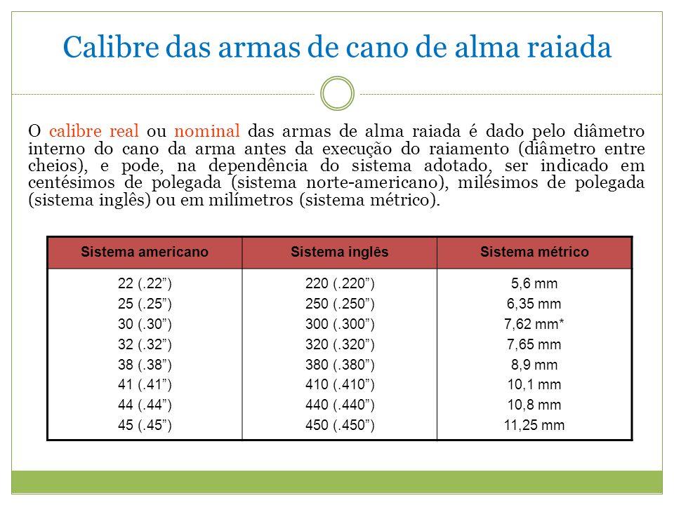 Calibre das armas de cano de alma raiada O calibre real ou nominal das armas de alma raiada é dado pelo diâmetro interno do cano da arma antes da execução do raiamento (diâmetro entre cheios), e pode, na dependência do sistema adotado, ser indicado em centésimos de polegada (sistema norte-americano), milésimos de polegada (sistema inglês) ou em milímetros (sistema métrico).