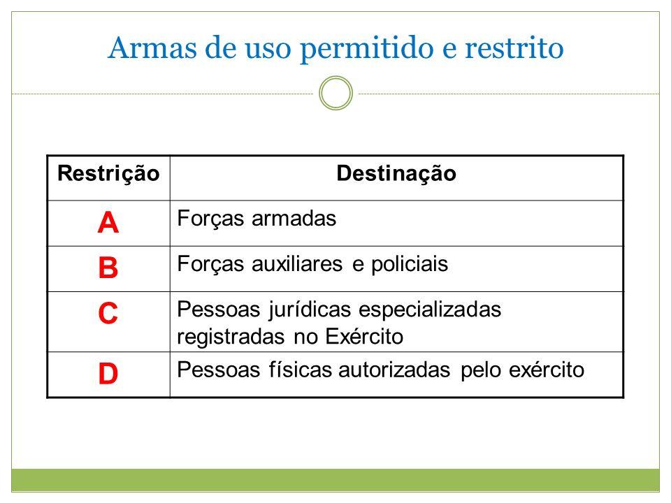 Armas de uso permitido e restrito RestriçãoDestinação A Forças armadas B Forças auxiliares e policiais C Pessoas jurídicas especializadas registradas no Exército D Pessoas físicas autorizadas pelo exército