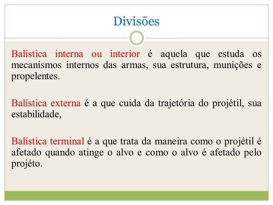 Divisões Balística interna ou interior é aquela que estuda os mecanismos internos das armas, sua estrutura, munições e propelentes.