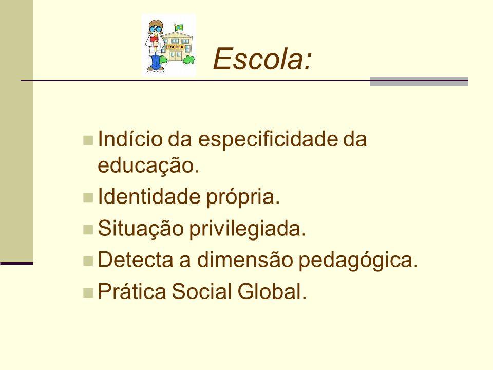 Escola: Indício da especificidade da educação. Identidade própria. Situação privilegiada. Detecta a dimensão pedagógica. Prática Social Global.