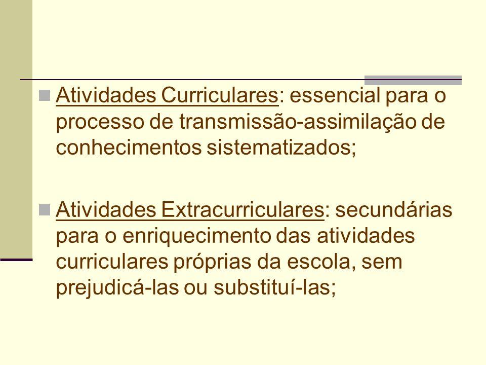 Atividades Curriculares: essencial para o processo de transmissão-assimilação de conhecimentos sistematizados; Atividades Extracurriculares: secundári