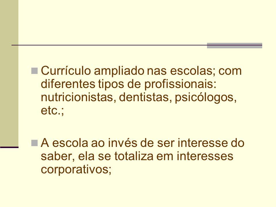 Currículo ampliado nas escolas; com diferentes tipos de profissionais: nutricionistas, dentistas, psicólogos, etc.; A escola ao invés de ser interesse